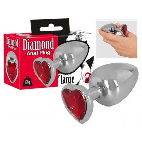 Plug Anal Diamond Coeur Rouge - Large